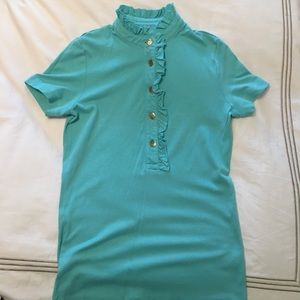 Tory Burch Lidia Short Sleeve Polo turquoise XS